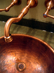 metal, plumbing fixture, copper, sink,