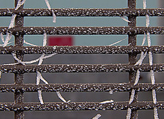 wire fencing(0.0), outdoor structure(0.0), chain-link fencing(0.0), wall(0.0), mesh(0.0), net(0.0), chain(0.0), pattern(1.0), home fencing(1.0), fence(1.0), metal(1.0), line(1.0), design(1.0),