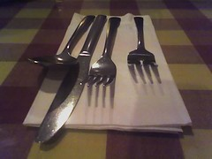 wing(0.0), kitchen knife(0.0), fork(1.0), tool(1.0), knife(1.0), tableware(1.0), cutlery(1.0),