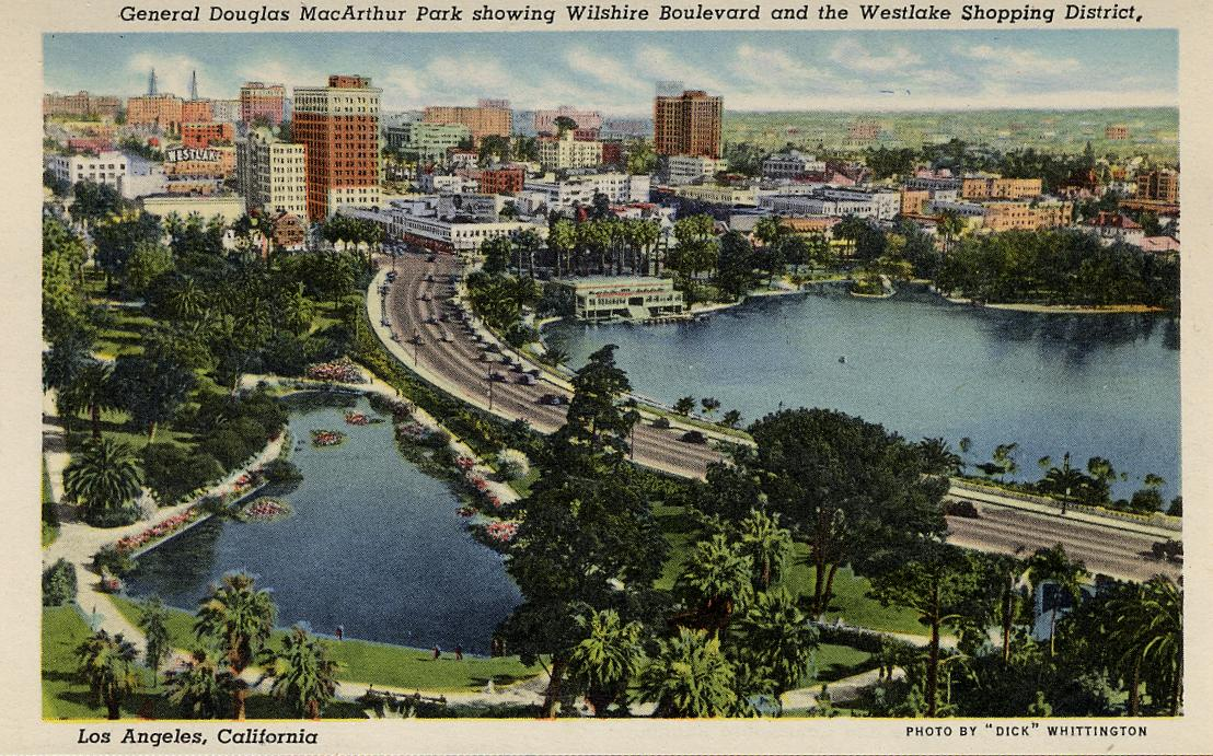 General Douglas MacArthur Park Showing Wilshire Boulevard and the Westlake Shopping District