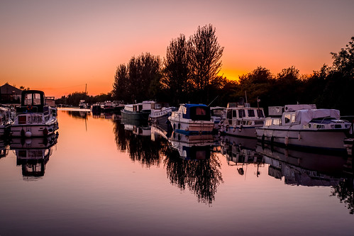 boats grand canal shannon harbour offaly ireland sunset calm still peaceful reflection colour