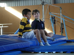 sport venue(1.0), sports(1.0), room(1.0), gymnastics(1.0), physical fitness(1.0), artistic gymnastics(1.0), trampolining(1.0),