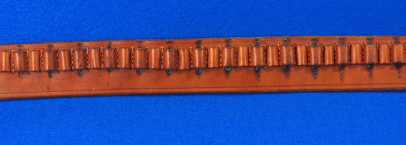 RD15060 Vintage Hand Made By Viking Mexican Leather Gun Ammo Belt .22L 7012 43 inch Long DSC07339
