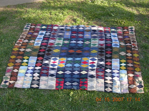 Argyle Blanket- from Socks to scarves to This! (126 socks/2=63 pair/9=7 scarves..)