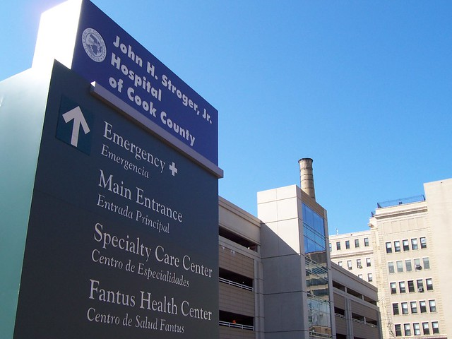 Bilingual Cook County Hospital Sign