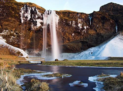 Waterfall Seljalandsfoss at dusk