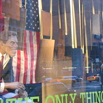 Tony Blair and George Bush in window display on Park Avenue