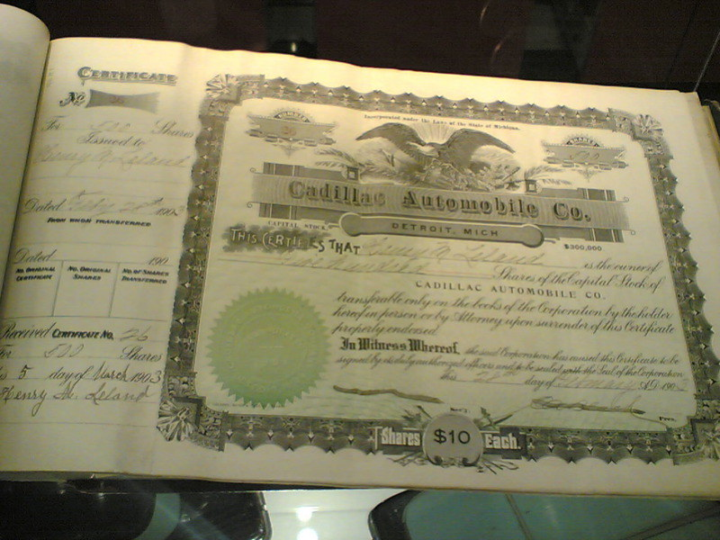 GM stock certificate from Cadillac Automobile