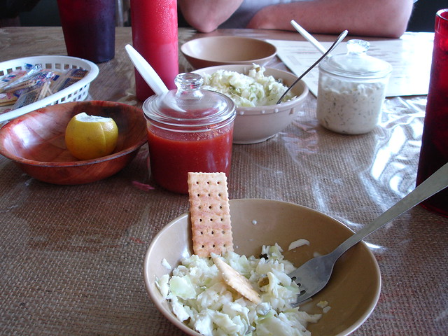 Coleslaw with Lance Captain's Wafters at Ezell's Fish Camp, Lavaca AL
