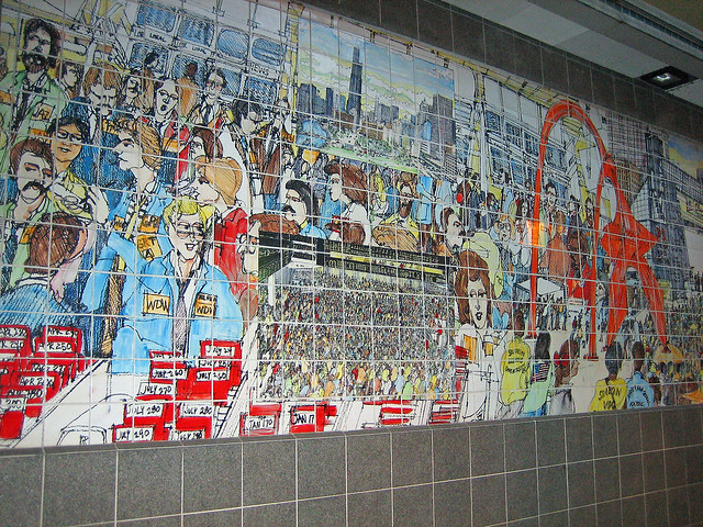 Wall art chicago ceramic tile mural on the wall of a for Mural in chicago illinois