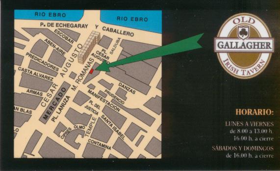 Old Gallagher Irish Tavern business card
