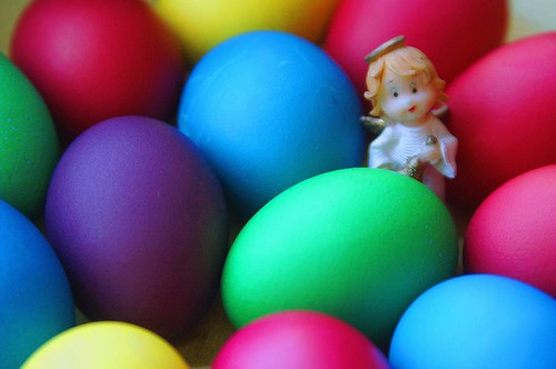 easter eggs and angel