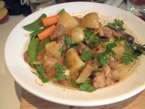 Orange Lamb Stew with Edible Organic Green Tea Leaves