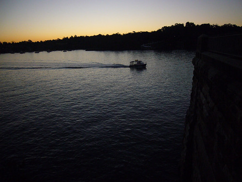 bridge sunset river boat wake sydney australia parramatta gladesville drummoyne