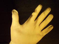 hand, finger, yellow, glove,