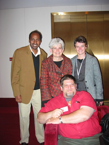 Qu'resh Ahmed, Sarah Gardner, Gillian Gardiner and Arnold Aprill at the IFACCA Mini-Summit on Arts and Education, Melbourne, Australia, September 2005