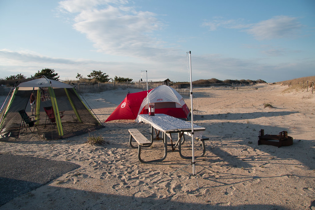 Campsite setup at Assateague State Park