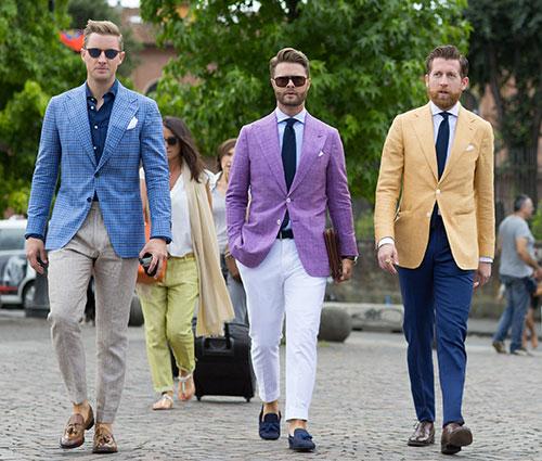 テーラードジャケットコーデ 青&紫&黄