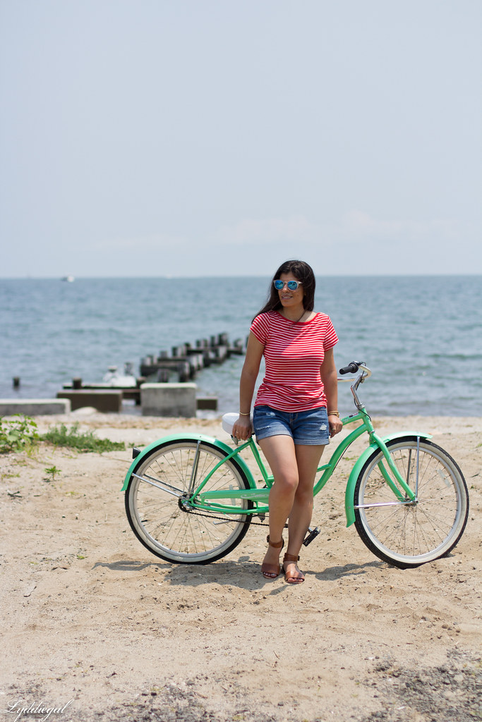 striped tee, denim shorts, riding on a beach cruiser bike-6.jpg