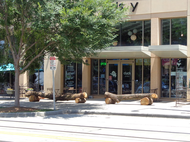 Wooden Log Benches Outside Cluck in Charlotte NC