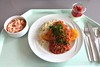 Crispy chicken breast with vegetable salsa & rice / Hähnchenbrust in der Knusperpanade mit Gemüsesalsa & Reis