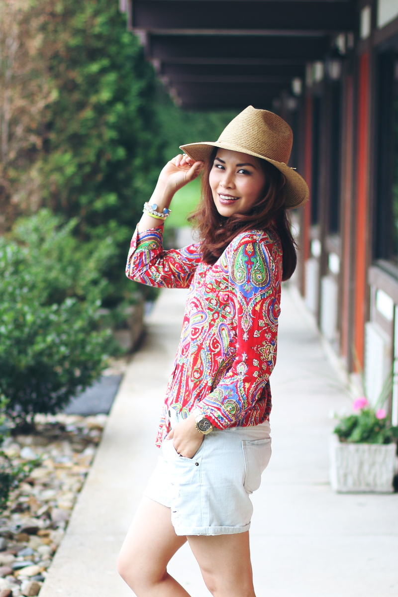 Paisley-shirt-denim-shorts-hat-3