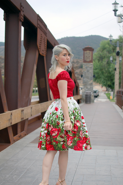 Pinup Girl Clothing Jenny skirt in Red Floral Border print