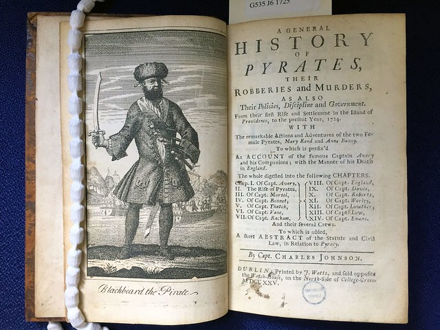 Title page and frontispiece from 1725 edition of A General History of Pyrates