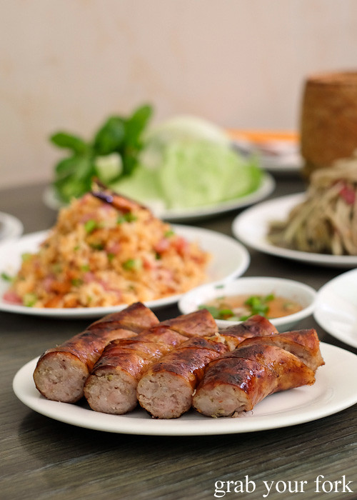 Lao pork sausages at Phounguen Lao and Thai Restaurant, Cabramatta