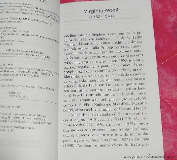 Resenha, livro, Profissões Para Mulheres e Outros Artigos Feministas, Virginia Woolf, ensaio, femininsmo, opinião, LPM, diagramação