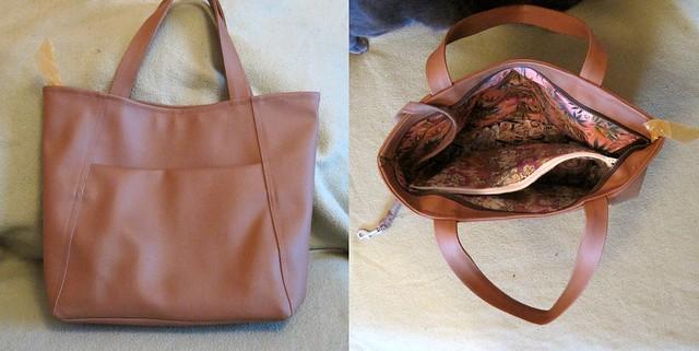 brown fake leather bag