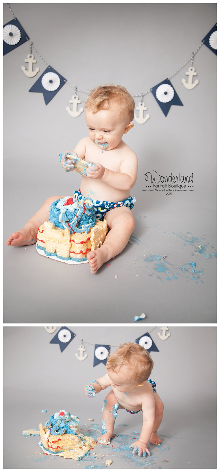 Nautical Birthday Ideas Philadelphia Cake Smash Photographer WonderlandPortrait.com