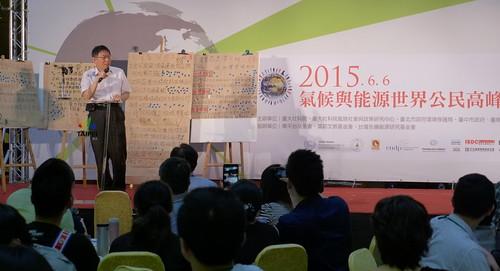 台北市長柯文哲說,節能減碳,做就對了。攝影:陳文姿。