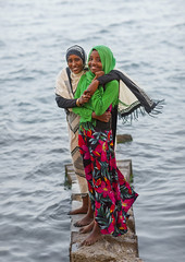 Girls Standing On A Rock On The Red Sea Bank, Suakin, Sudan