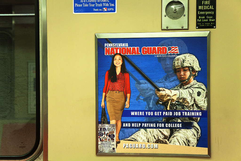 National Guard ad featuring Asian woman on 7-28-15--South Philly