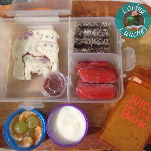 Loving this simple @nudefoodmovers for Honey tomorrow… the cow #lunchpunch was already out from earlier this week so she got a purple cow, freezer mini lamingtons, freezer Cheerios, yoghurt, mandarin and grapes along with the last of the gogo juice in her