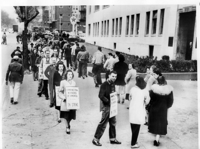 Communications workers picket Western Electric: 1950