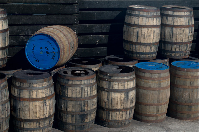 Casks at Kilchoman distillery
