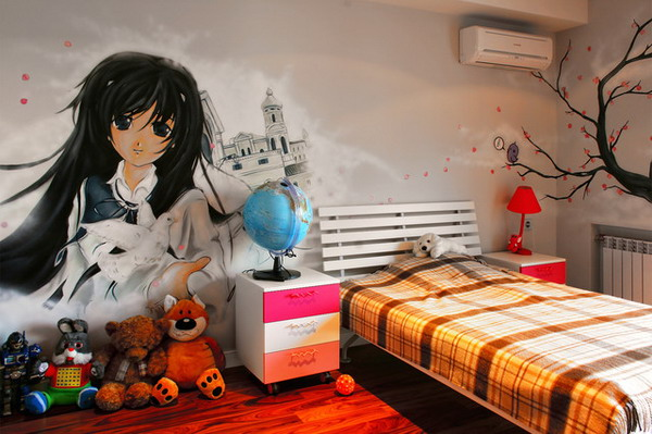 Modern Girls Bedroom Design Ideas Ideas With Manga Wall Mural