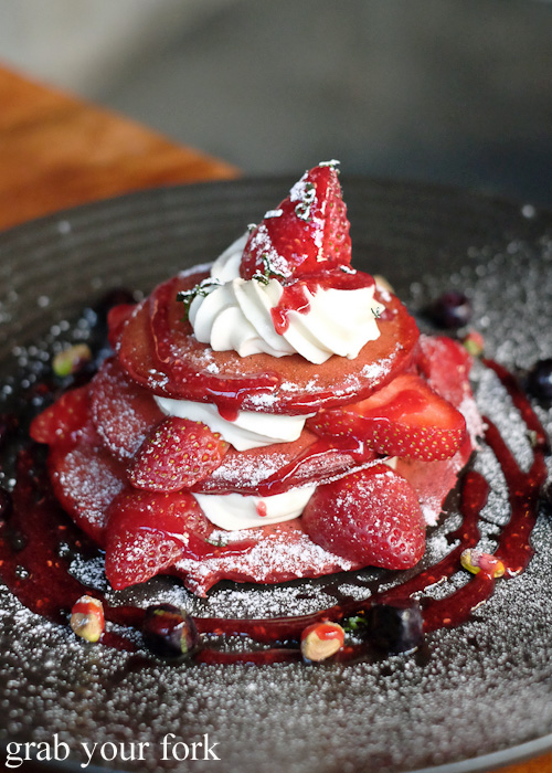 Red velvet pancakes at The Local Mbassy, Ultimo