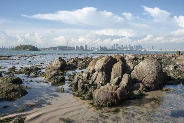 Rocky shores of St John's Island