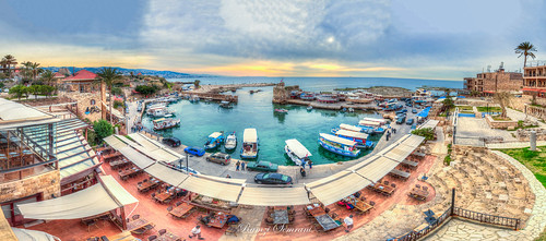 byblos harbour lebanon landscape panorama peace jbeil mina liban sunset sea clouds blue boat لبنان جبيل