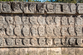 Image of Chichen Itzá near San Felipe Nuevo. 2017 mexico yucatan january winter mayan chichenitza ruins mexique estadosunidosmexicanos tzompantli platformoftheskulls skulls sacrifice altar mexiko 墨西哥
