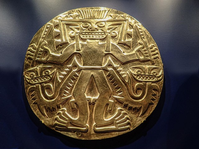 Real embossed gold plaque from the Conte Culture of Panama 500-900 CE