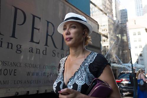 New York City Street Scenes - Woman in a Panama Hat