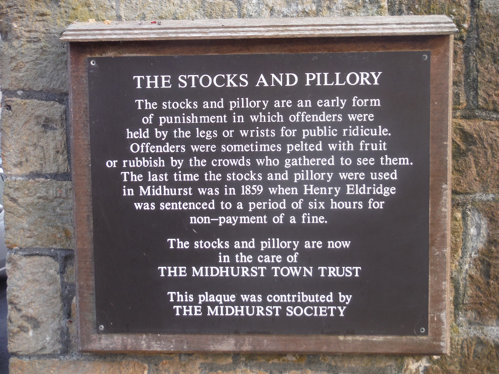 Plaque by Stocks & Pillory, Midhurst SWC Walk 217 Midhurst Way: Arundel to Midhurst