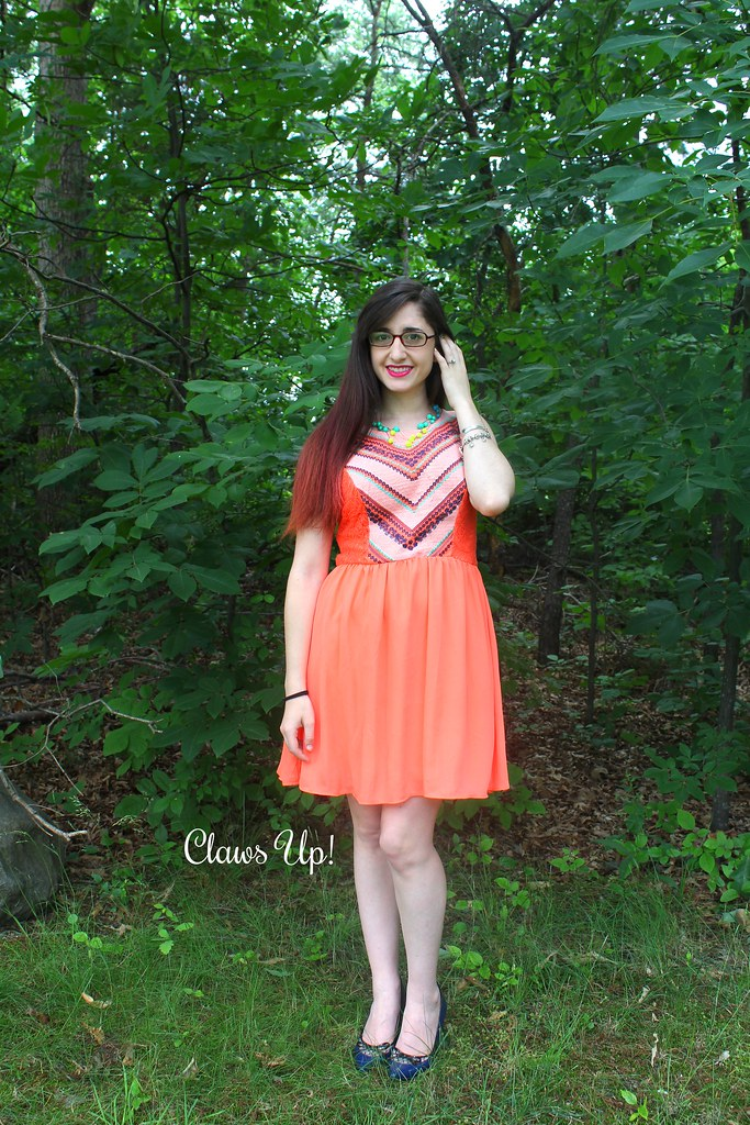 Orange dress with blue and turquoise details