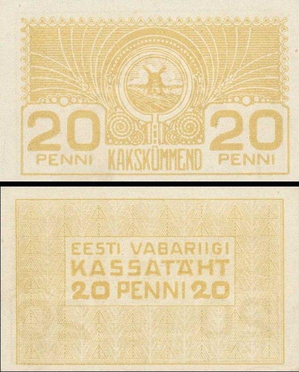 20 Penni Estónsko 1919, Pick 41a