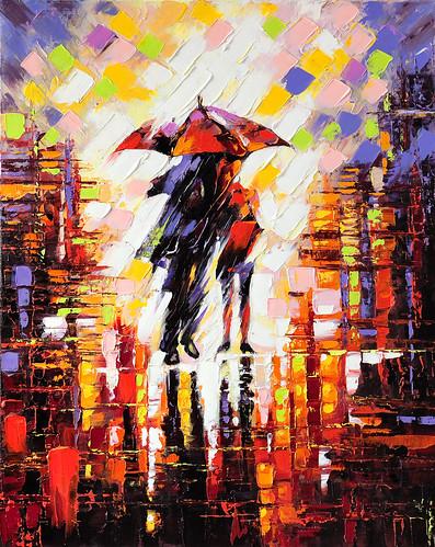 Rainy City Painting