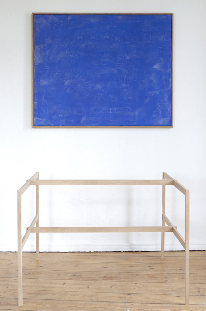 Lars Bjerre_Blueprint (The Robbery),(on the wall), Oil, Oil pastel & wax on canvas. 100x121,5 cm. Oak frame (103x123,5x4 cm).  Artist designed table frame in oak, 75hx99x111 cm. 2015© the artist
